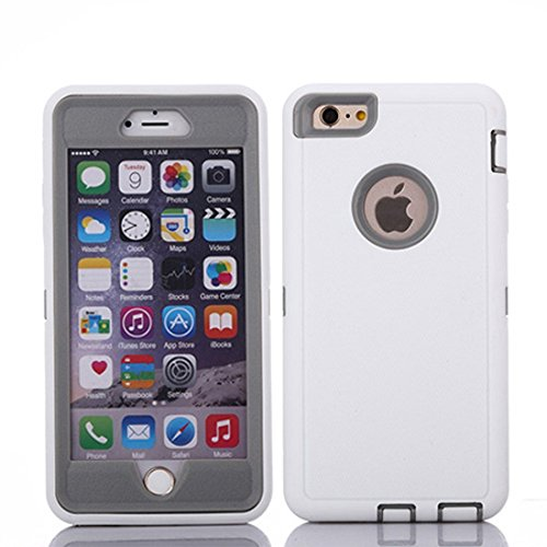 MAXCURY Heavy Duty Shockproof Series Case Compatible for iPhone 6 and iPhone 6S (4.7 inch) Case with Built-in Screen Protector - White and Grey