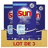 Sun Nettoyant Lave-Vaisselle Expert Boost, Nettoyant machine contre le Calcaire et les Dépôts de Graisse, 9 Doses (Lot de 3x3 Doses)