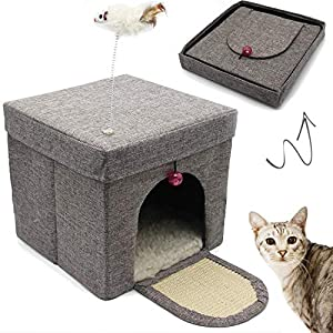 BPS Casa para Gatos Mascotas Portable Plegable con Juguete Ratón 30x30x29cm BPS-10707 8