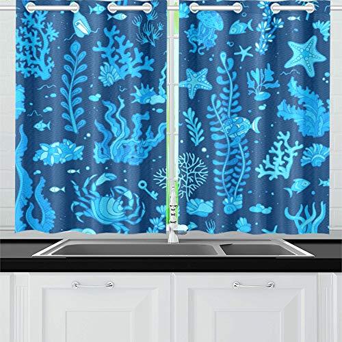 JINCAII Sommer Unterwasser Verschiedene Shell Küche Vorhänge Fenster Vorhang Stufen Für Café, Bad, Wäscherei, Wohnzimmer Schlafzimmer 26 X 39 Zoll 2 Stücke
