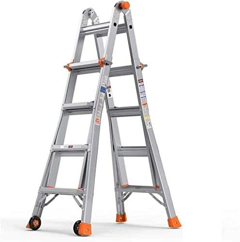 Folding Ladder, 17 ft Aluminum Extension Ladder with 300 lbs Load Capacity, Portable Ladder with Non-Slip Rubber feet & Wheels, Multi-Position, Smart Utility, Ideal for Working Indoor/Outdoor