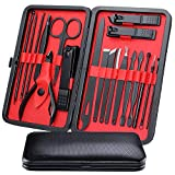 Mens Manicure Set - WoneNice 19pcs Professional Nail Clipper Kit & Pedicure Kit with Case for Travel, Perfect Christmas Gifts for Women and Men