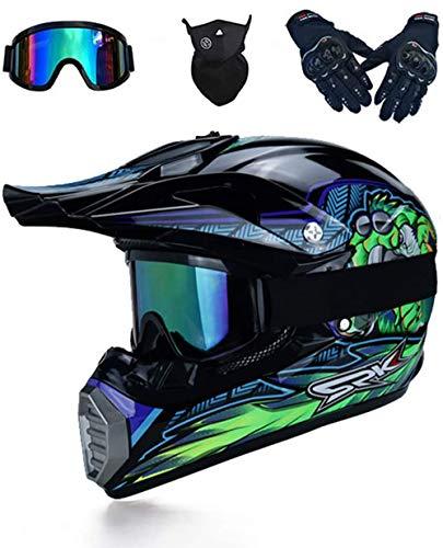 LEENY Motocross-Helm, Herren Motorradhelm mit Brille/Maske/Handschuhe, Motorrad Sports Off-Road DH Enduro-Helm ATV MTB-Helm Quad Motorräder Cross-Helm für Männer Damen, Schwarz Grün Monster Muster,S