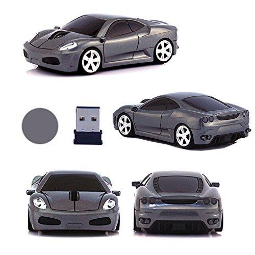 UrChoiceLtd Souris optique USB sans fil 3D en forme de voiture de course avec phares et feux arrière lumineux 2,4GHz 1600DPI