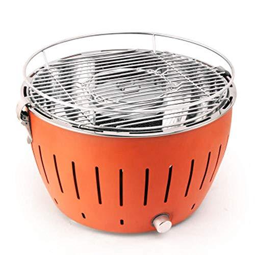 Holzkohlegrill Mit Elektrischer BelüFtung Usb, Mini Picknick Grill,Tragbare Gartengrill Grill FüR 5-8 Personen(Orange)