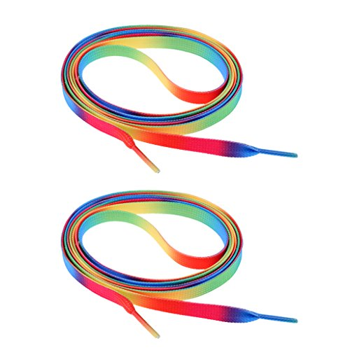 MagiDeal Schuhbänder, 1 Paar, Schuhbänder für Rollschuhe, Stiefel, Turnschuhe, Trekkingschuhe, Arbeitsschuhe Schnürsenkel - Regenbogen