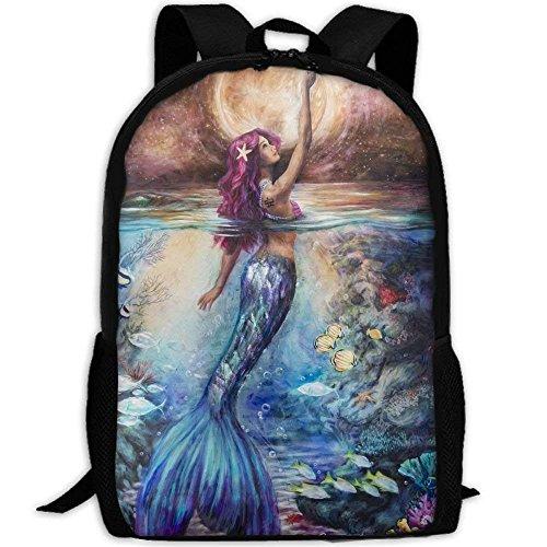 Bella Sirena Sotto Moonlight Unico Spalle Esterni Sacchetto Tessuto Zaino Multiuso Daypacks per Adulto