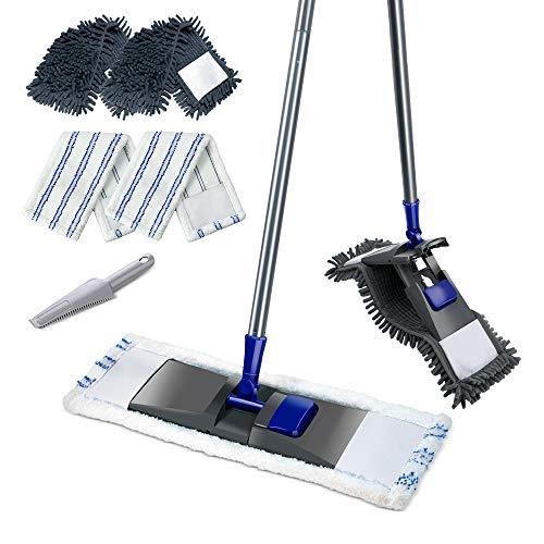 Mastertop Flach Mopp mit 2 Ersatzkopf aus Mikrofaser und Chenille, Drehbar Wischmopp mit Schaber, Bodenwischer Set zur Bodenreinigung