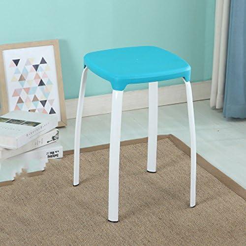 LUYIASI- Deux tabourets en plastique Accueil Padded Bench Table adulte et tabouret Mode Chaise en plastique Petit Tabouret haut rond (30x30x46cm) chaussures stool (Couleur   Bleu)