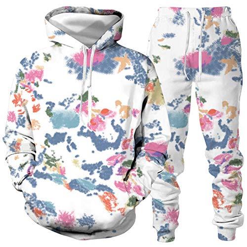 DREAMING-Amantes del otoño e invierno, traje deportivo holgado, teñido con corbata, manga larga, top casual, suéter con capucha + traje de pantalón 5XL
