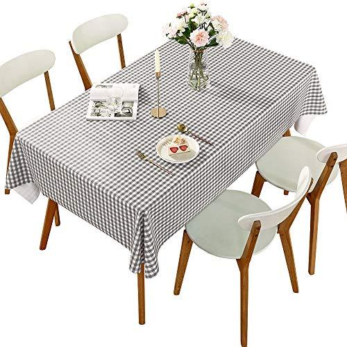 DARUITE Mantel Antimanchas, Cuadros Gris y Blanco Mantel PVC Plastico Mesa Rectangular Impermeable 137 x 240 cm de Comedor, Exterior, Cocina, Picnic