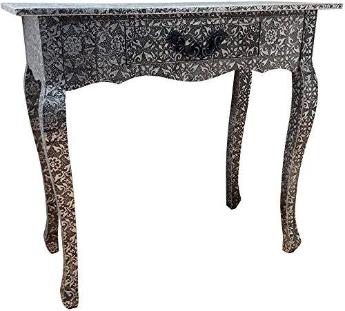 Tocador de Consola Estilo Shabby Escritorio Negro Plateado 1 cajón Muebles de Extremo Lateral de Madera Veneciana Vintage