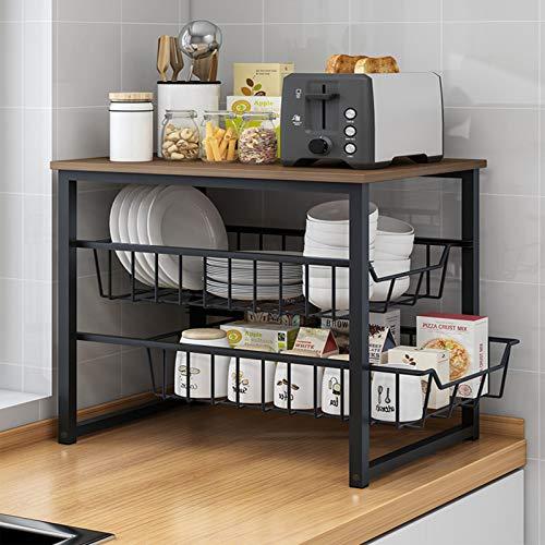 Estante de almacenamiento de cocina para microondas, estante de almacenamiento para encimera, hogar, multicapa, para condimentos, suministros de clasificación de almacenamiento de color negro, 3 capas