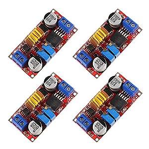 Dealikee 4 Pack 5A DC-DC Adjustable Buck Converter, XL4015 4-38V to 1.25-36V Step Down Power Supply Voltage Regulator Power Module