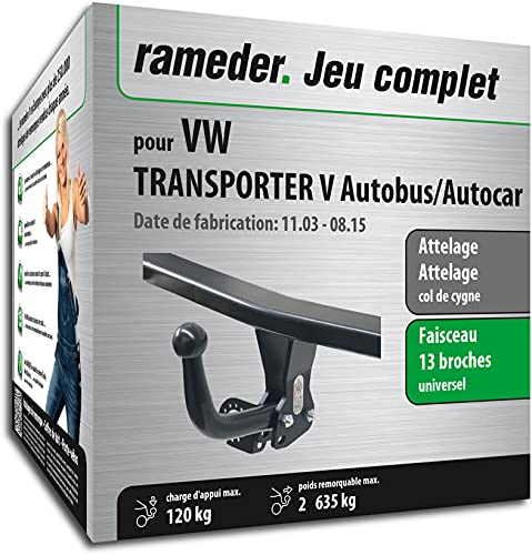 Rameder Pack, attelage démontable avec Outil + Faisceau 13 Broches Compatible avec VW Transporter V Autobus/Autocar (163129-05005-1-FR).
