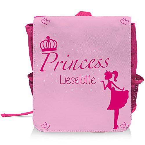 Kinder-Rucksack mit Namen Lieselotte und schönem Prinzessin-Motiv für Mädchen