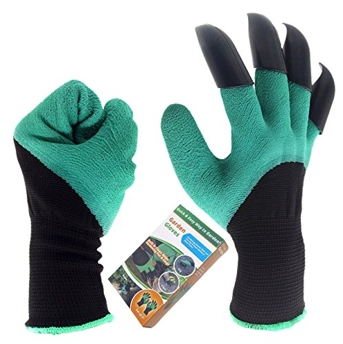 Inf-way Right&Left Handed Garden Genie Gloves with Fingertips Uniex Right Claws Quick & Easy to Dig and Plant Safe for Rose Pruning - As Seen On TV (Right Hand Claw 1 pair)