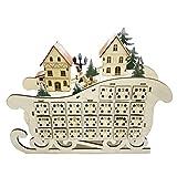 Decorazioni natalizie Calendario dell'Avvento 2021, a forma di slitta di Babbo Natale in legno con luce LED Village House 24 giorni di conto alla rovescia ornamento con cassetto