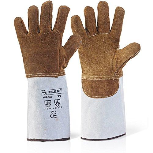 Premium Qualität hitzebeständig Leder Fire Handschuhe–für Holz, log & Kohle Brände, BBQ Brenner offen Kamin Ofen–wird mit Antibakterienstift® Antibakterielles Pen., x1