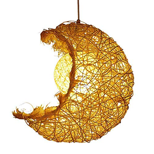Luz de Techo Moderna Pantalla de araña de Mimbre Hecha a Mano Estilo Luna Iluminación de Techo Colgante Creativa Dormitorio Comedor Pasillo lámpara de habitación Infantil D285CM × H312cm,Natural