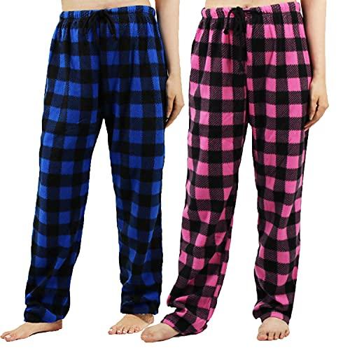 Pajama Bottoms Women Pack Soft Fall Plaid Fuzzy Fleece Lounge Sleep Pants Comfy Warm Drawstring Pjs Sleepwear Blue/Pink