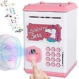 Money Bank for Kids, Electronic Piggy Bank Mini ATM Toy, Fingerprint & Face Scan Password Code Lock Cash Coin Money Safe Saving Box, Birthday Gift for Children Girls