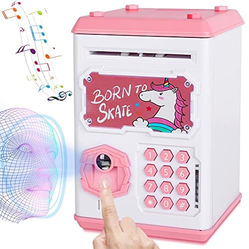 Money Bank for Kids, Electronic Piggy Bank Mini ATM Toy, Fingerprint &...