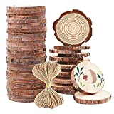 Natural Wood Slices - 30 Pcs 3.6'- 4' Craft Unfinished Wood kit Predrilled with Hole Wooden Circles for Arts Wood Slices Christmas Ornaments DIY Crafts