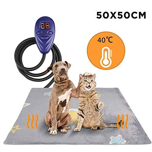 Zacro Heizmatte für Haustiere Hund Katze (50 * 50 cm), Heizdecke mit LED Anzeige und 7 Einstellbaren Temperaturen, Anti Kaulinie, Wasserdicht