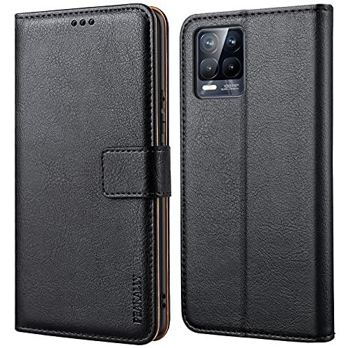 Peakally Handyhülle für Realme 8 Pro/Realme 8 4G Hülle, Premium Leder Flip Hülle Tasche Schutzhülle Brieftasche Klapphülle [Kartenfächer] [Standfunktion] [Magnet]-Schwarz