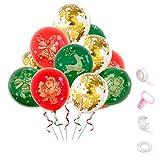 Topways 34 Piezas de Globos de decoración de Fiesta de Navidad, Globos de Oro...