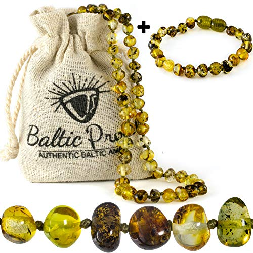 Baltic Amber Necklace and Bracelet Gift Set (Unisex Green Forest) - Certified Premium Quality Raw Baltic Amber