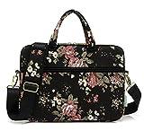 kayond Black C Rose Patten water resistant Laptop Shoulder Messenger Bag Case Sleeve for 14 Inch 14.1 Inch Laptop,Laptop Briefcase