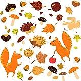 Stickers4 – Decoración otoñal – 40 Pegatinas de Doble Cara para Ventana, diseño de Animales de otoño – Hojas – Frutas – Decoración de Frutos Secos
