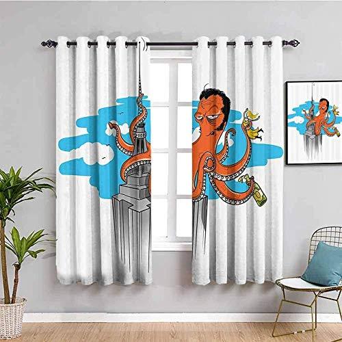LucaSng Cortinas de Opacas - Dibujos animados monstruo marino pulpo edificio - 234x138 cm - para Sala Cuarto Comedor Salon Cocina Habitación - 3D Impresión Digital con Ojales Aislamiento Térmico Corti