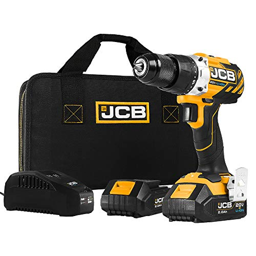 JCB Tools - JCB 20V Cordless Brushless Drill Driver Power Tool - With 2 x 2.0Ah Batteries And Charger - Variable Speed - Forward And Reverse Rotation - For Long Screw Woodwork, And Removing Bolts