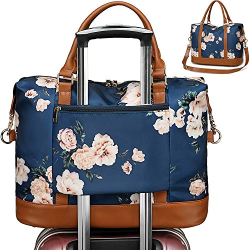 CAMTOP Women Ladies Weekender Travel Bag Overnight Carry-on Duffel Tote with Trolley Sleeve (Flower-Navy Blue)