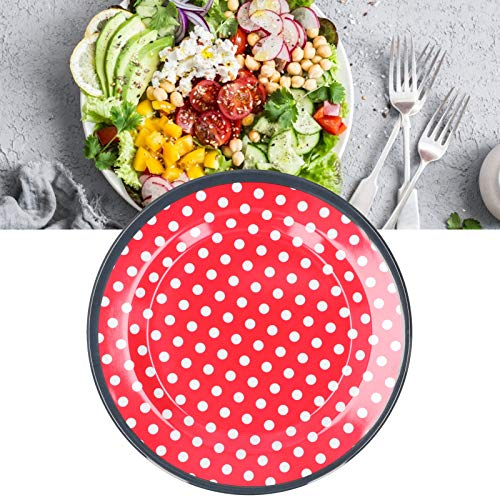 banapo Plato de Comida, Plato de Ensalada de vajilla para Descanso para Dormitorio para salón para Cocina(Red Dots)