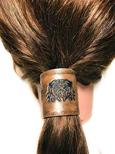Handmade Brown and Black Leather Celtic Knots Viking Beasts Hair Tie Ponytail Holder