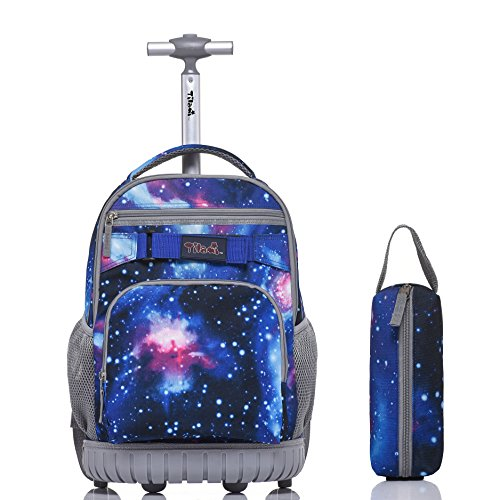 Tilami Rolling Backpack 18 Inch with Pencil Case School for Boys Girls, Galaxy