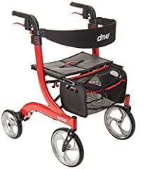 Easily collapse rollator to ultra-compact size with one hand by pulling seat grip up and bringing sides together so handles almost touch Sophisticated design features lightweight aluminum frame with built-in brake cable for extra safety and protectio...