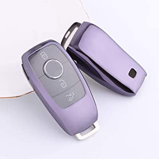 For Benz Key Cover,Special Soft TPU Benz Key Case Cover Protector Metallic Feel Durable Beautiful Appearance Fit to Mercedes Benz C E G S M GL CLS CLK G Class Keyless Smart Key Fob Case (Purper black)