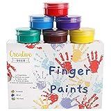 Creative DECO Pintura de Dedos para Niños Bebes No Tóxica | 6 x 40 ml Colores Intensos en Botes | Temperas Seguras para Niños Pequeños | Set de Pinturas Lavables