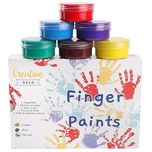 Creative Deco Finger-Farben Kinder-Farben | 6 x 40 ml Becher | Intensive Farben | Set für Kleinkinder | Sicher & Ungiftig | Wasserbasiert | Bastel-Farbe Plakat-Farbe