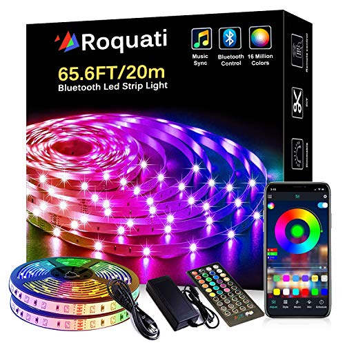 Bluetooth LED Light Strip 65.6FT/20M 5050 RGB Strip Lights Music Sync Color Changing Rope Lights Flexible Tape Light Kit with APP Controller for Bedroom Home Kitchen