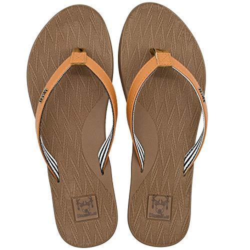 KuaiLu Chanclas Mujer Comodas Piel Verano Playa Piscina Ultraligera Sandalias de Dedo Planas Moda Caminar Antideslizante Yoga-Espuma Zapatillas Caqui 39