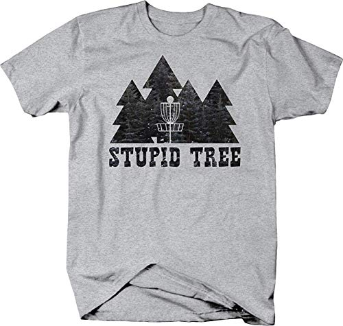 Disc Golf Stupid Tree Pines Tshirt for Men Large Heather Grey