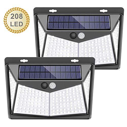 Luces Solares, LETTURE 2 Paquetes Luz Solar Exterior 208 LED / 3 Modos 270 ° Lámpara Solar Exterior IP65 Impermeable Iluminación Exterior con Sensor de Movimiento para Jardín, Patio, Terraza, Inicio, Camino, Escalera Exterior