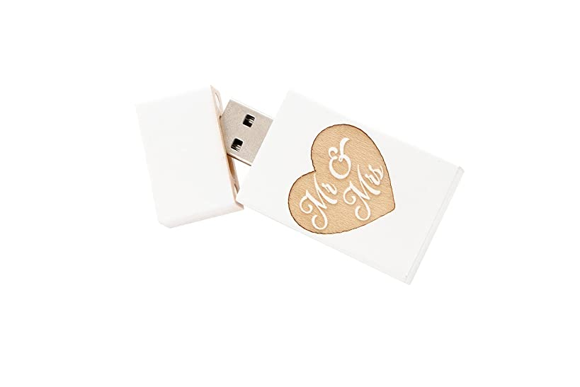 1 16GB USB 2.0 White Wash Maple Drive- Single Item - Grove Stick Body - Mr & Mrs Engraved