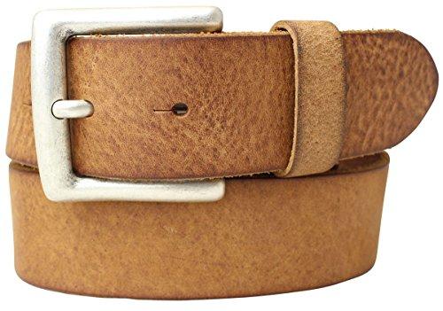 Gürtel aus weichem Vollrindleder Used-Look 4,0 cm   Jeans-Gürtel für Damen Herren 40mm   Ledergürtel Vintage-Look Schwarz Braun Blau Cognac 4cm